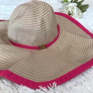 Calvin Klein Floppy Tan and Pink Sun Hat OS N35